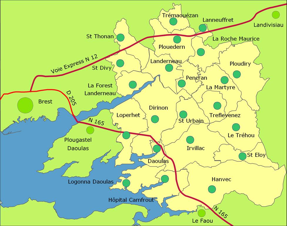 Les 22 communes de la CCPLD