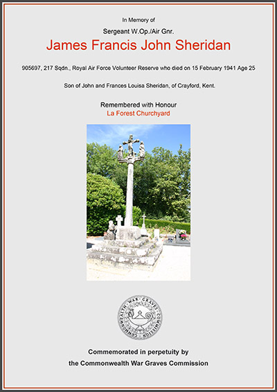 Commonwealth War Graves Commission : James Francis John SHERIDAN