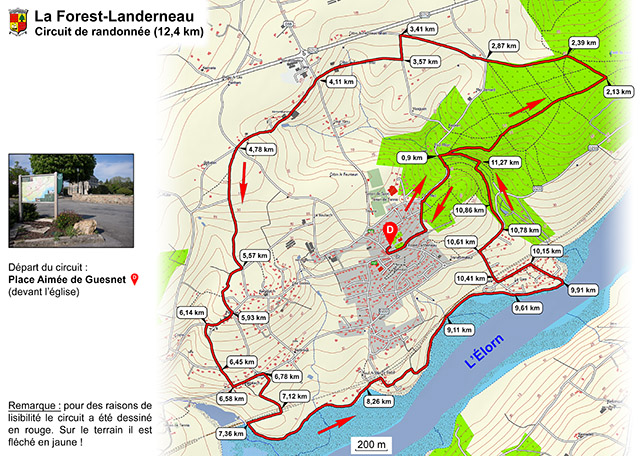 Carte du circuit de Randonnée de 12 km