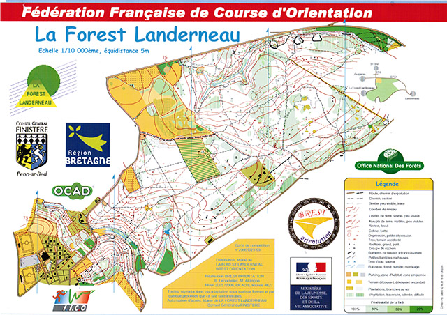Carte Course d'orientation 1/10.000° - La Forest-Landerneau