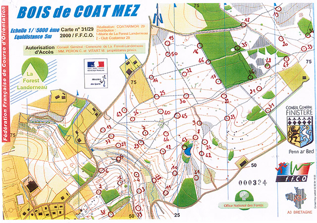 Carte Course d'orientation 1/5.000° - La Forest-Landerneau