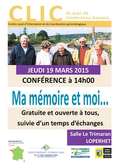 19 mars 2015 : conférence Ma mémoire et moi
