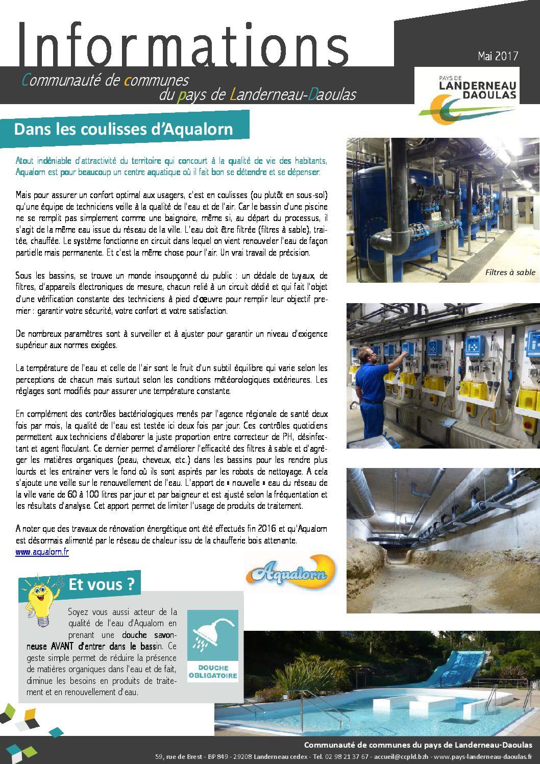 CCPLD Info - Mai 2017 : Les coulisses d'Aqualorn