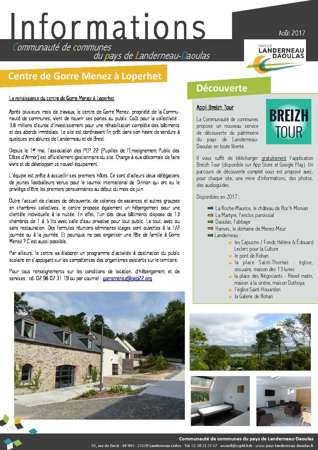 CCPLD Info - Août 2017 : Centre de Gorre Menez